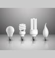 realistic electric lightbulbs set vector image vector image