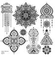 Set of Aztec tribal elements and symbols vector image