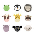 set of cute funny animals frog sheep cow vector image