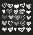 sketch white hearts set on blackboard vector image vector image