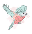 small bird feeding with red berry autumn winter vector image