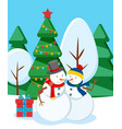 snowmen in winter snowy forest holiday decor vector image vector image