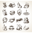Spa Sketch Icons vector image vector image