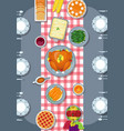 thanksgiving meal on the table thanksgiving greet vector image vector image
