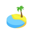 Tropical beach with palm isometric 3d icon vector image vector image