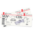 two red boarding pass or airplane ticket vector image vector image