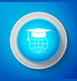 white graduation cap on globe icon isolated vector image