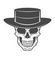 Wild west skull with hat Smiling rover logo vector image