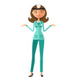 woman funny cartoon scientist doctor presenting vector image