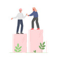 woman helping male collegue to climb up on column vector image vector image