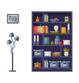 wooden bookcase and lamp cozy room interior vector image