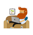 young freelancer hipster man working vector image vector image