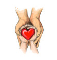 adult and child hands holding red heart health vector image vector image