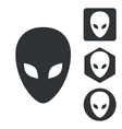 Alien icon set monochrome vector image vector image