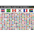 all official national flags world roll up vector image