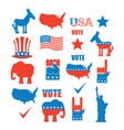american elections icon set republican elephant vector image vector image
