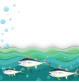 An ocean with fishes vector image vector image