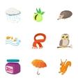 Autumn weather icons set cartoon style vector image