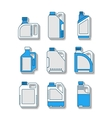 Blank plastic canisters flat icons Packaging for vector image vector image