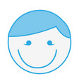blue round man face cartoon vector image vector image