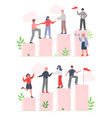 business people climbing up to goal on column vector image vector image
