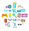 camera for films icons set cartoon style vector image