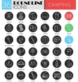 camping circle white black icon set Modern vector image