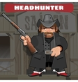 Cartoon character in Wild West - leader with rifle vector image vector image