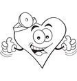 Cartoon heart with thumbs up vector image vector image