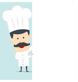 Chef hold blank board for use in advertising vector image