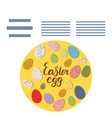 circle with easter decorated eggs and text frame vector image