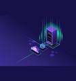 cloud hosting upload to storage server vector image vector image
