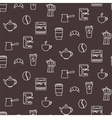 Coffee line icons seamless pattern vector image