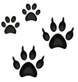 colorful cartoon cat dog paw footprint icon set vector image