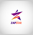 colorful zap star with letter z logo sign symbol vector image vector image