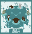 Court color concept isometric icons