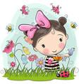 cute cartoon girl on a meadow vector image vector image