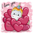 cute cartoon unicorn in hearts vector image vector image