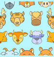 doodle stock with animal cute style vector image vector image