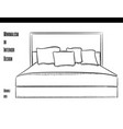 double bed with pillows in a contour on a white vector image