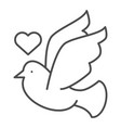 dove with heart thin line icon lovely dove vector image