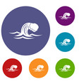 foamy wave icons set vector image vector image