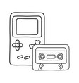 game boy and cassette black and white vector image
