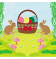 Greeting Card with Easter rabbits and basket with vector image vector image