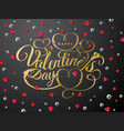 happy valentines day greeting card gold font vector image
