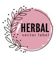 herbal and natural botany emblem or banner vector image