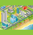 isometric of city map with modern buildings vector image vector image