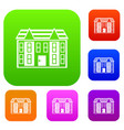 large two-storey house set collection vector image vector image
