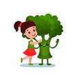lovely little girl hugging giant broccoli vector image
