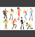 men and women singing karaoke with microphones set vector image vector image